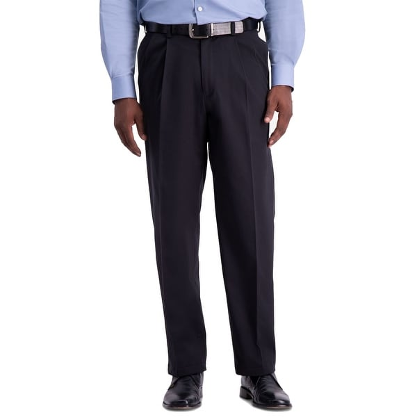 Haggar Mens Pants Navy Blue Size 38X29 Relaxed Fit Pleated Stretch. Opens flyout.