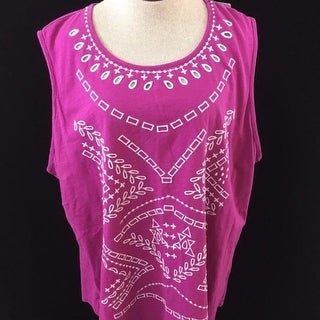 Sonoma sleeveless tank top Size 3X pink or yellow embroidered