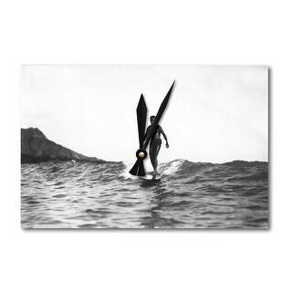 Surfing in Honolulu HI Longboard - Vintage Photo (Acrylic Wall Clock)