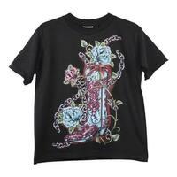 Little Girls Black Blue Cowgirl Boot Print Short Sleeve Cotton T-Shirt