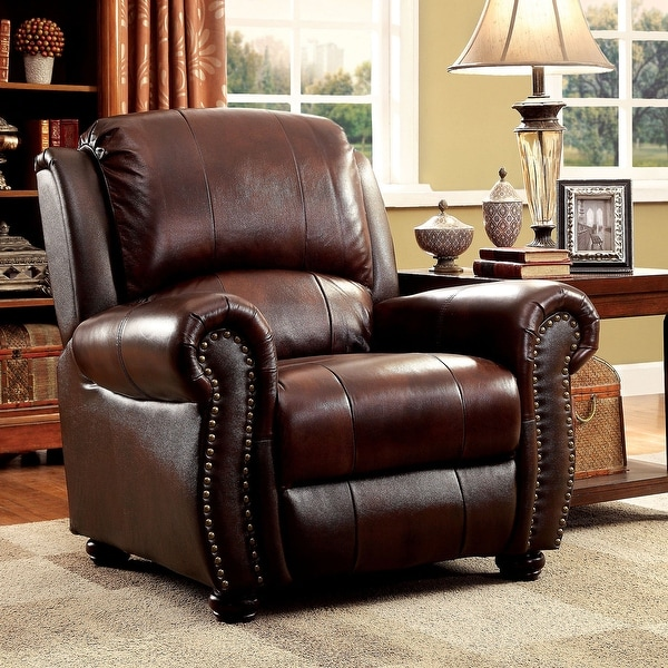 Furniture of America Drow Traditional Leather Padded Armchair. Opens flyout.