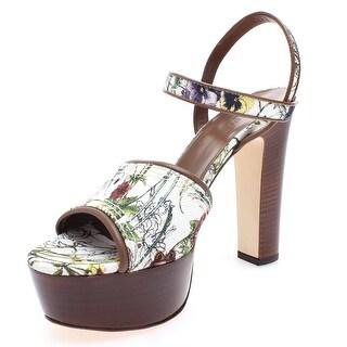 """Gucci Women's Leather """"Danielle"""" Flora Canvas Clog Platform Sandal"""