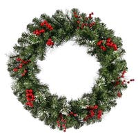 "30"" Siegal Berry Pine w/ Holly Berries Artificial Christmas Wreath - Unlit - green"