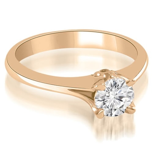 0.77 cttw. 14K Rose Gold Split Shank Round Solitaire Diamond Engagement Ring