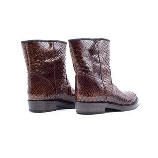 Brunello Cucinelli Womens Brown Python Ankle Boots Size 37 / 7