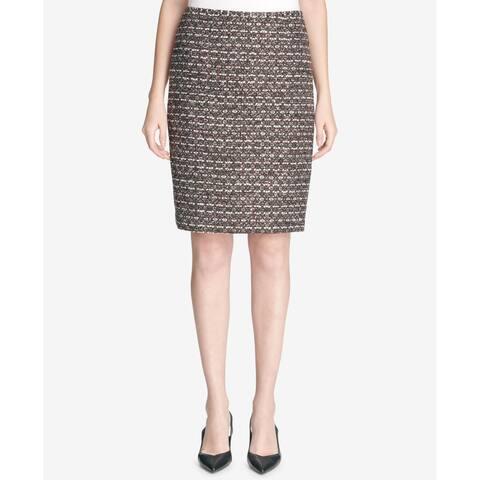 Calvin Klein Women's Purple Size 14P Petite Tweed Straight Pencil Skirt