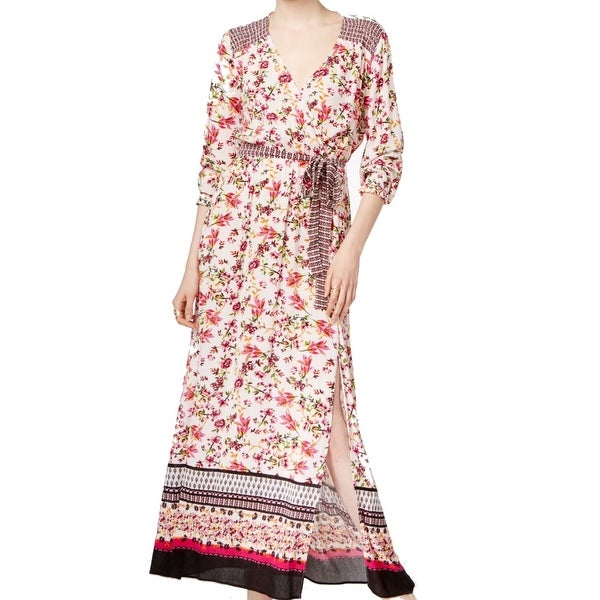 09352064f2b Shop ECI Red White Womens Size 12 Floral Printed Faux Wrap Maxi ...