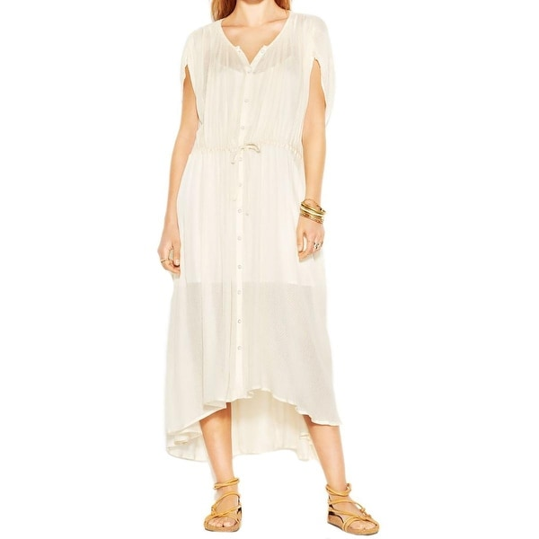 Free People Womens Sweet Talk Shirtdress Mid-Calf Ruched