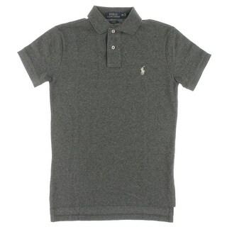 928c034a Polo Ralph Lauren Mens Custom Fit Mesh Shirt Polo Shirt Cotton Heathered -  XS