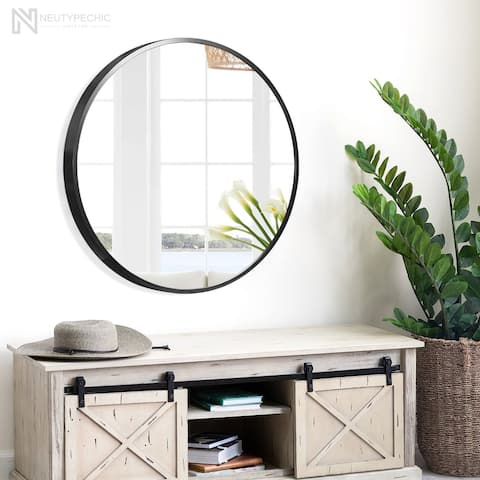 Neutypechic Modern Thin Frame Wall-Mounted Vanity Round Mirror