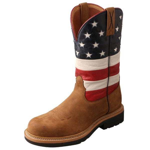 Twisted X Work Boots Mens Cowboy Lite Flag Distressed Saddle