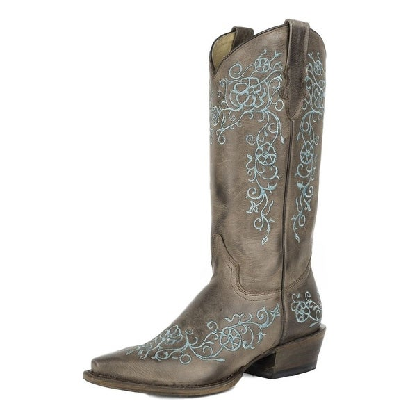 Roper Western Boot Women Bouquet Floral Turquoise