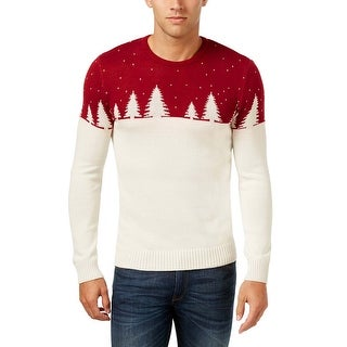 Celebrate Shop Deep Ruby and Ivory Crewneck Christmas Sweater Small S