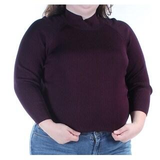 Womens Purple 3/4 Sleeve Turtle Neck Top Size S