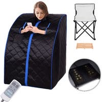 Costway Portable Far Infrared Sauna Spa Full Body Slimming Loss Weight Detox Therapy - Black