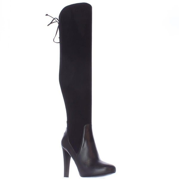 Nine West Brenna Back Lace Up Over The Knee Dress Boots, Black/Black