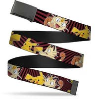 Blank Black  Buckle Pikachu & Mepowth Poses Rays Black Burgundy Web Belt