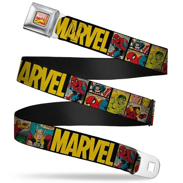 Marvel Comics Marvel Comics Logo Full Color Marvel Retro Comic Panels Black Seatbelt Belt