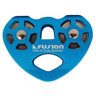 Fusion Climb Tesa Speed PULLEY, Aluminum/Stainless Steel WIRE ROPE PULLEY, Blue