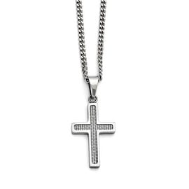 Chisel Stainless Steel Polished Grey Carbon Fiber Small Cross Necklace (3 mm) - 20 in