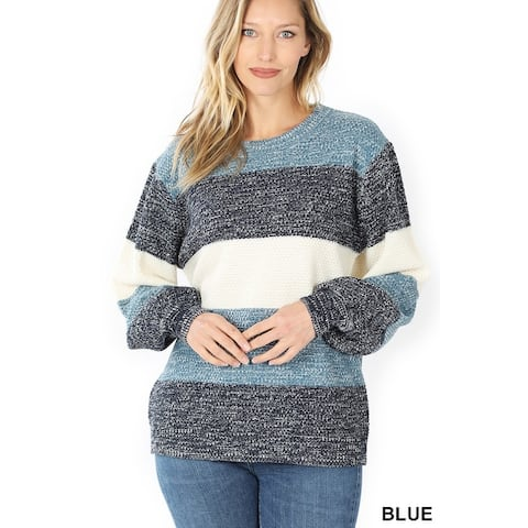 JED Women's Melange Colorblock Long Sleeve Loose Fit Sweater