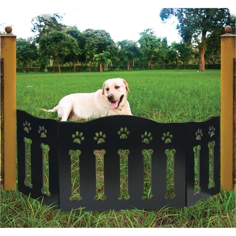 """Wooden Paws and Bones Pet Dog Gate - Free Standing Tri-Fold - 19"""" Tall 47"""" Wide - black - 47 in. w x 19 in. h"""