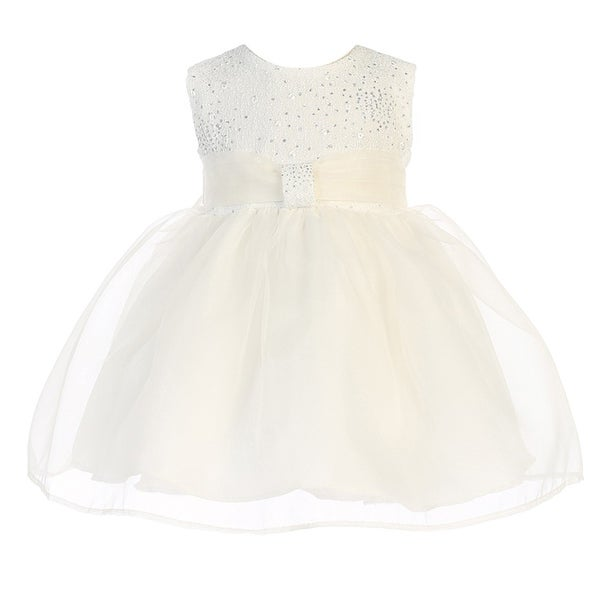 Baby Girls Ivory Organza Glitter Pleated Sash Elegant Flower Girl Dress