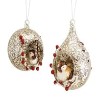 "Club Pack of 12 Glossy Decorative Christmas Ornaments with Chickadee Bird and Berries 5.7"" - Brown"