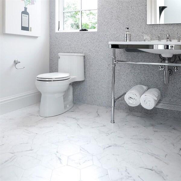 SomerTile 7x8-inch Carra Carrara Hexagon Porcelain Floor and Wall Tile (25 tiles/7.67 sqft.). Opens flyout.