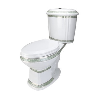 Renovators Supply White & Green Dual Flush Elongated Two Piece Toilet