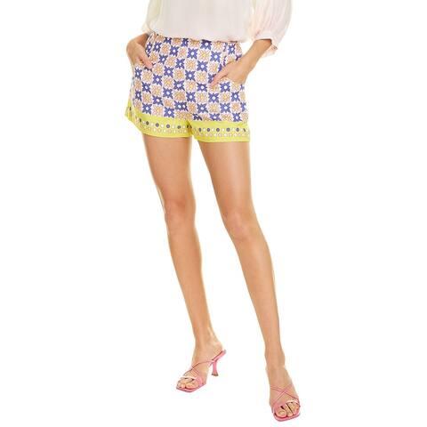 Nicole Miller Daisy Field High-Waisted Linen-Blend Short
