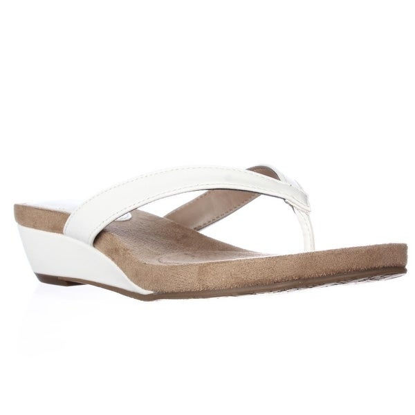 SC35 Haloe Thong Wedge Sandals, Whit