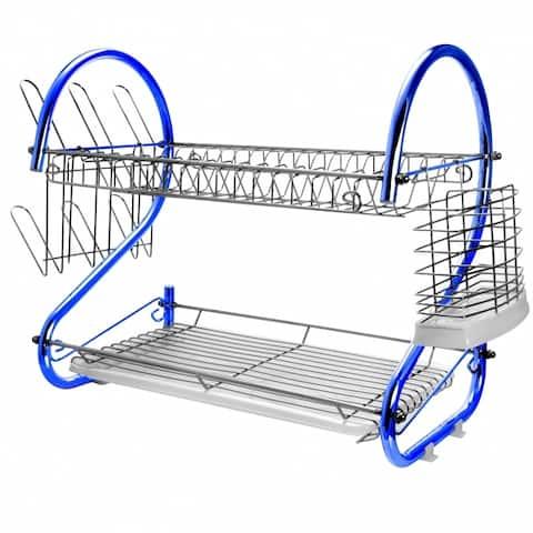 MegaChef 16 Inch Double Shelf Countertop Dish Drying Rack in Blue