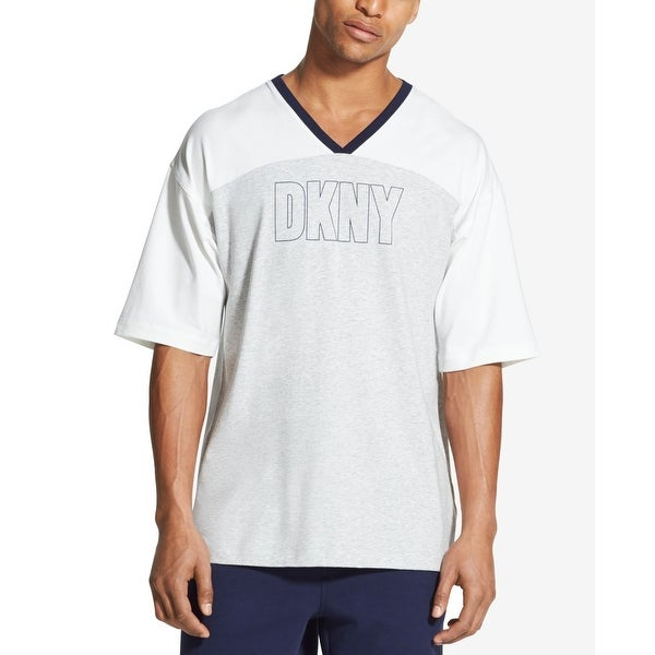 5e4ed8706a2204 Shop DKNY Glacier Grey Mens Size Small S Colorblock Logo V Neck T-Shirt -  Free Shipping On Orders Over $45 - Overstock - 28070893