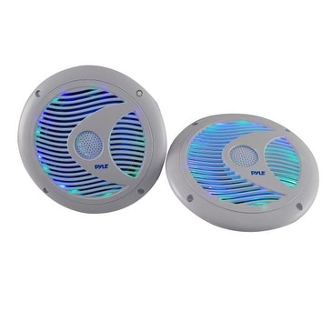 6.5'' Waterproof Audio Marine Grade Dual Speakers with Built-in Programmable Multi-Color LED Lights, 150 Watt, White