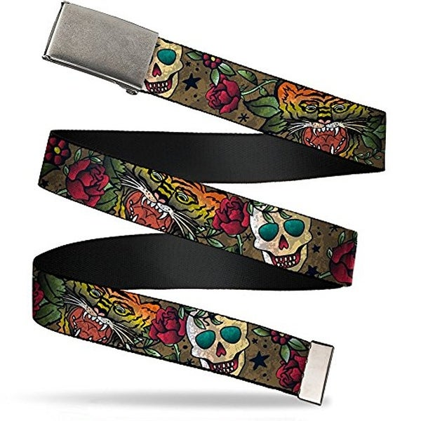 Buckle-Down Web Belt Death Before Dishonor Tattoo 1.5""