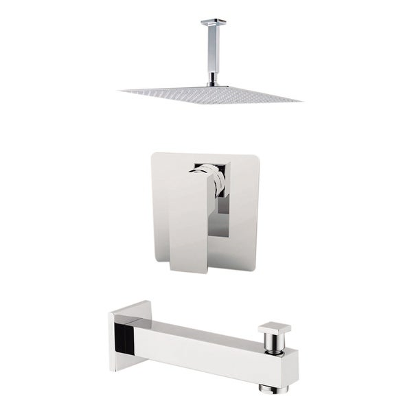 "Aquamoon Milan Shower Set Brushed Nickel With 12"" Showerhead, Spout and Ceiling Shower Arm"
