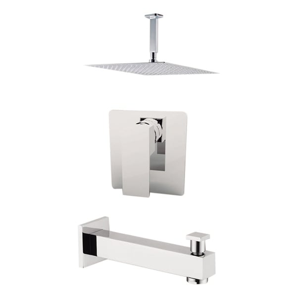 "Aquamoon Milan Shower Set Chrome With 12"" Showerhead, Spout and Ceiling Shower Arm"
