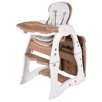 Costway 3 in 1 Baby High Chair Convertible Play Table Seat Booster Toddler Feeding Tray - as pic