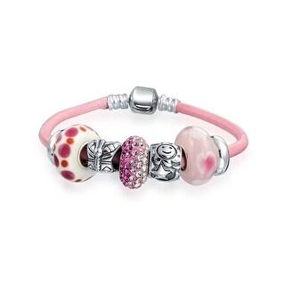 Bling Jewelry Silver Enamel Glass Crystal Bead Charm Bracelet - Pink (Option: 8 Inch)