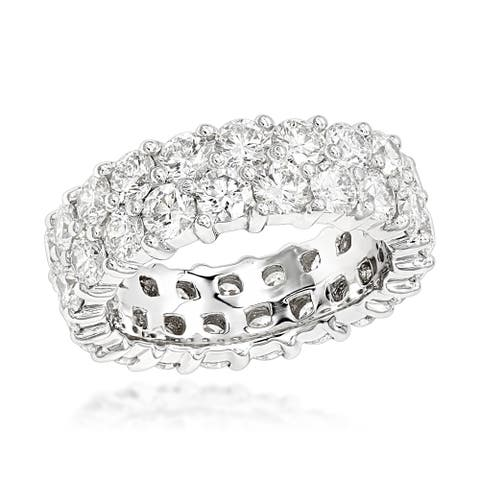 Ladies Eternity Band Anniversary Two Rows Round Diamond Ring 6ctw in 14k Gold by Luxurman
