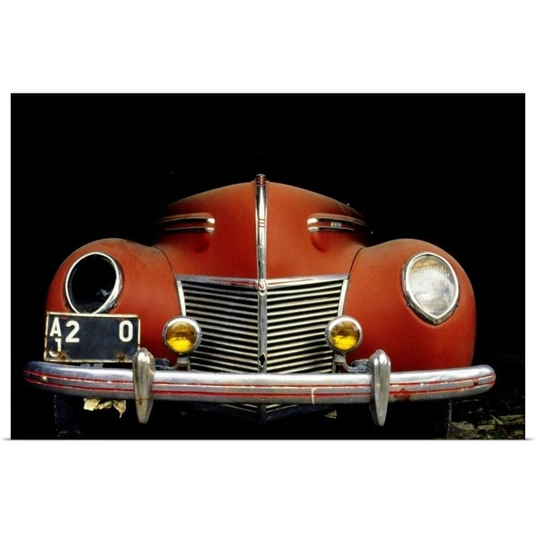 """""""Close-up of a vintage car with a broken headlight"""" Poster Print"""