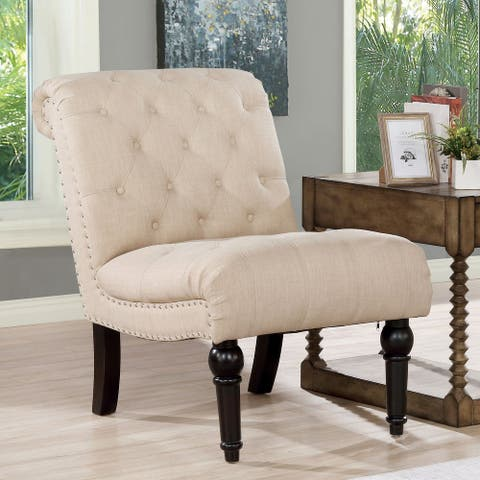 Furniture of America Crebbs Transitional Tufted Armless Chair
