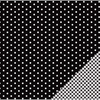 """American Crafts Basics Double-Sided Cardstock 12""""X12""""-Black Dot"""