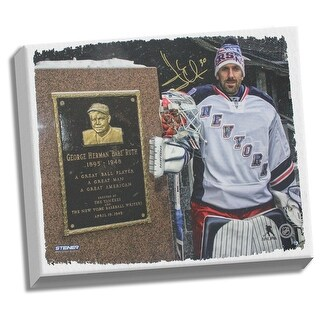 Henrik Lundqvist with Babe Ruth Monument 22x26 Canvas