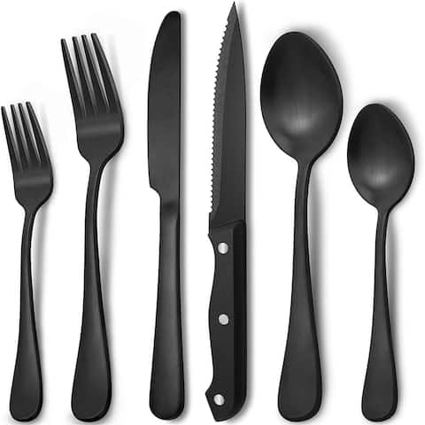 48-Piece Matte Black Silverware Set for 8 by Hiware, Stainless Steel Flatware Set with Steak Knives