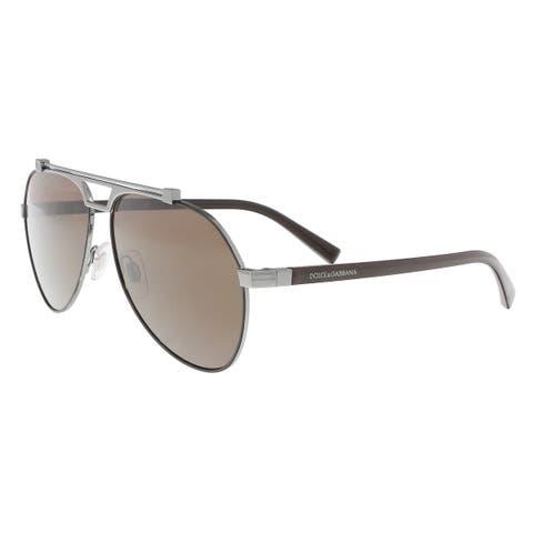 e373b993d0 Dolce   Gabbana DG2189 131573 Matte brown gunmetal Aviator Sunglasses -  61-14-140