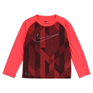 Nike Baby Boys Knurling Print and Swoosh Long Sleeve T Shirt Bright Orange - bright orange/black - 4