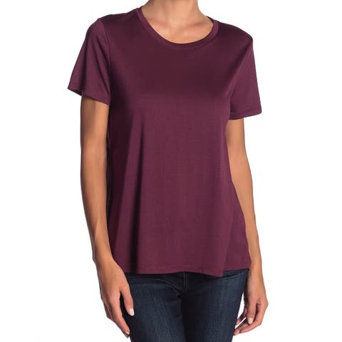 14th & Union Womens Top Purple Size Small S Knit Shirred-Back Tee
