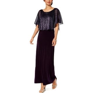 Connected Apparel Womens Maxi Dress Metallic Cape Sleeves